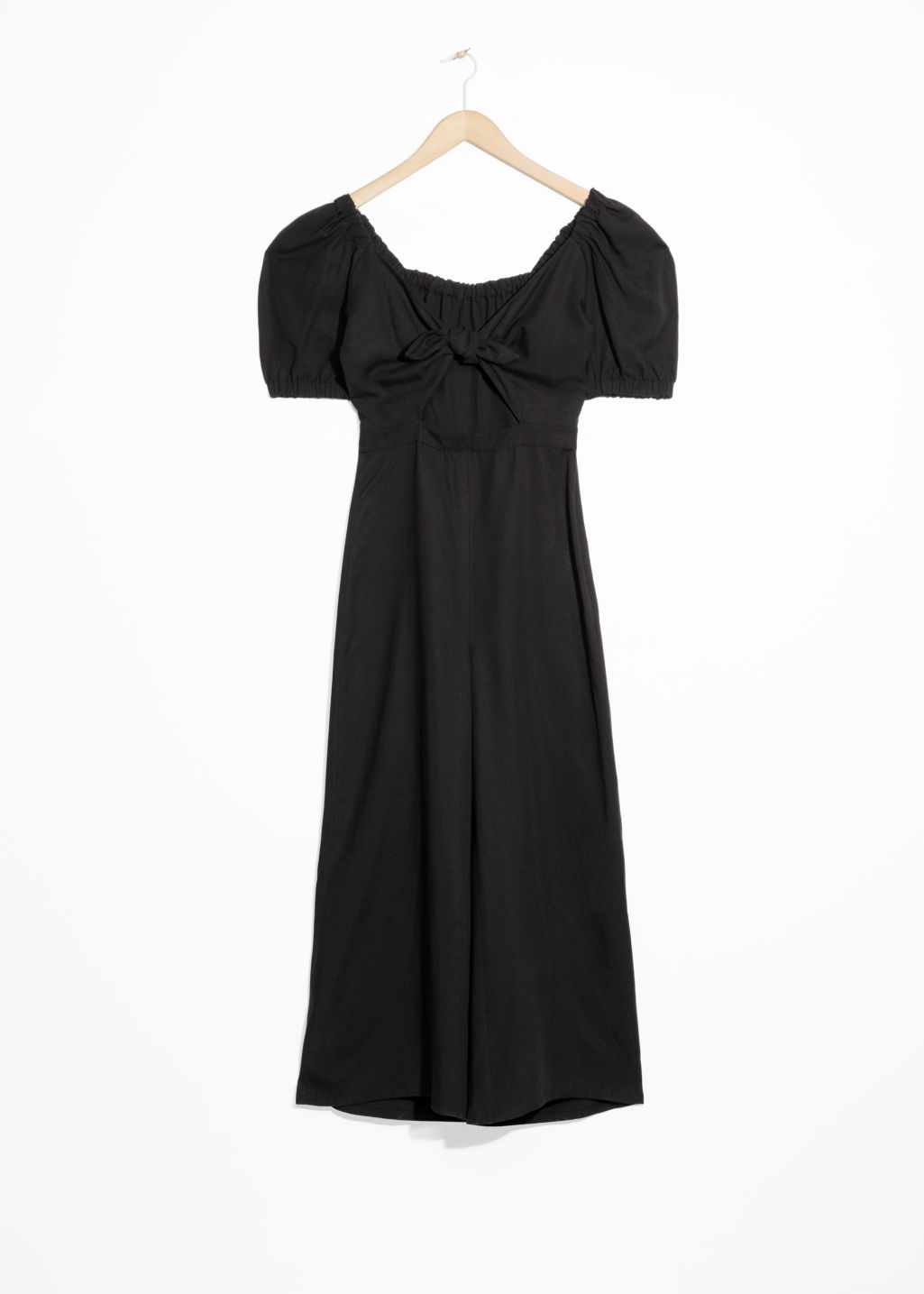 Front image of Stories knotted cutout jumpsuit in black