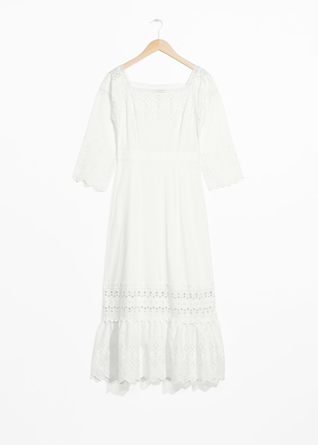 Front image of Stories eyelet midi dress in white