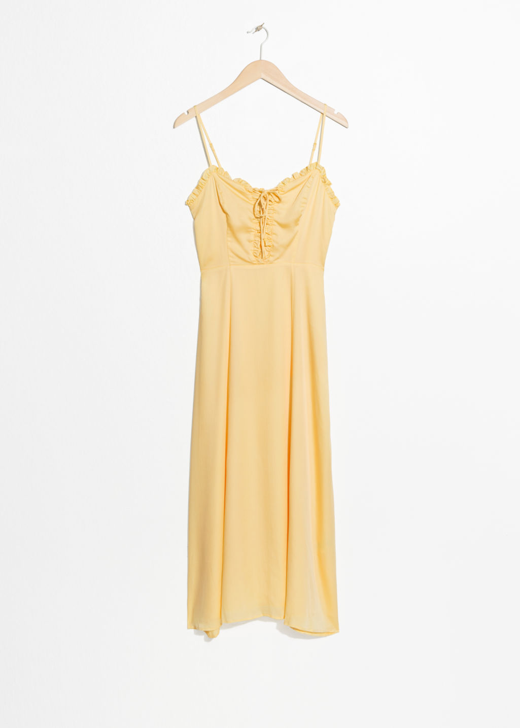 Front image of Stories ruffled lace up maxi sundress in yellow