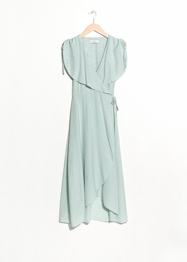 Front image of Stories oversized lapel wrap dress in turquoise