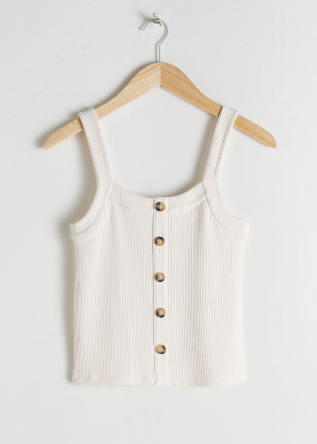 Front image of Stories ribbed tank top  in white