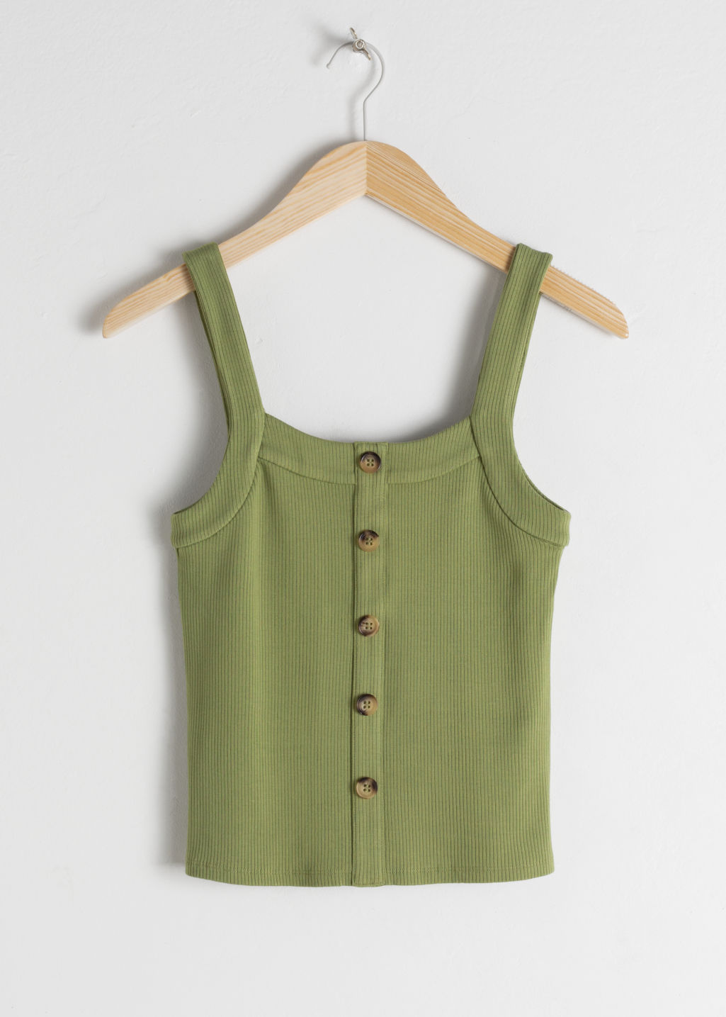 Front image of Stories ribbed tank top  in green