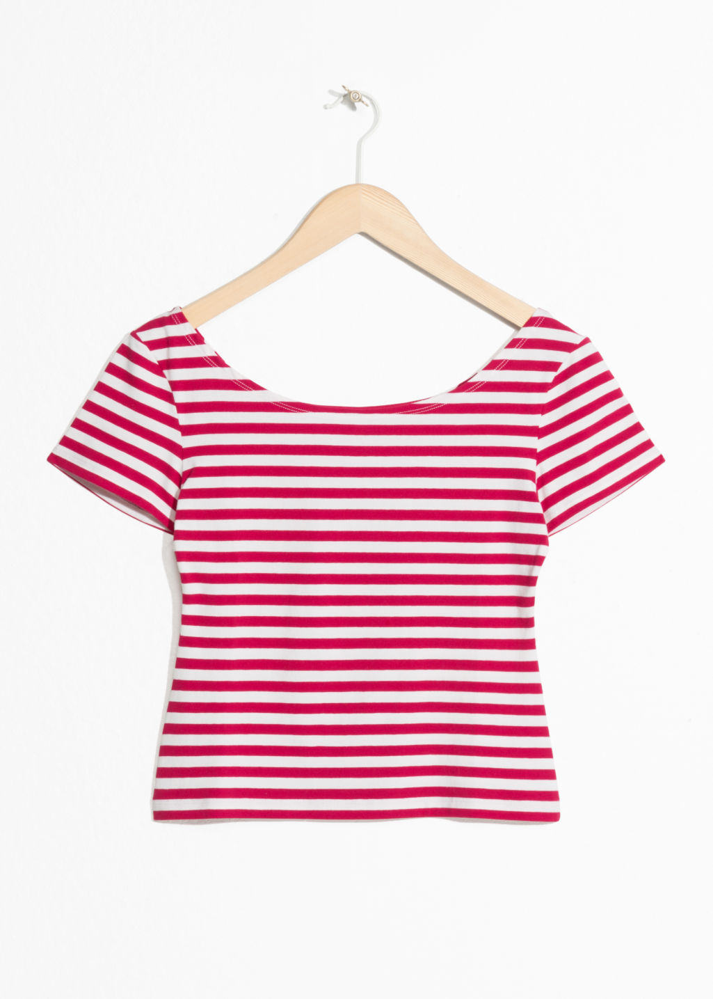 Front image of Stories striped boatneck tee in red