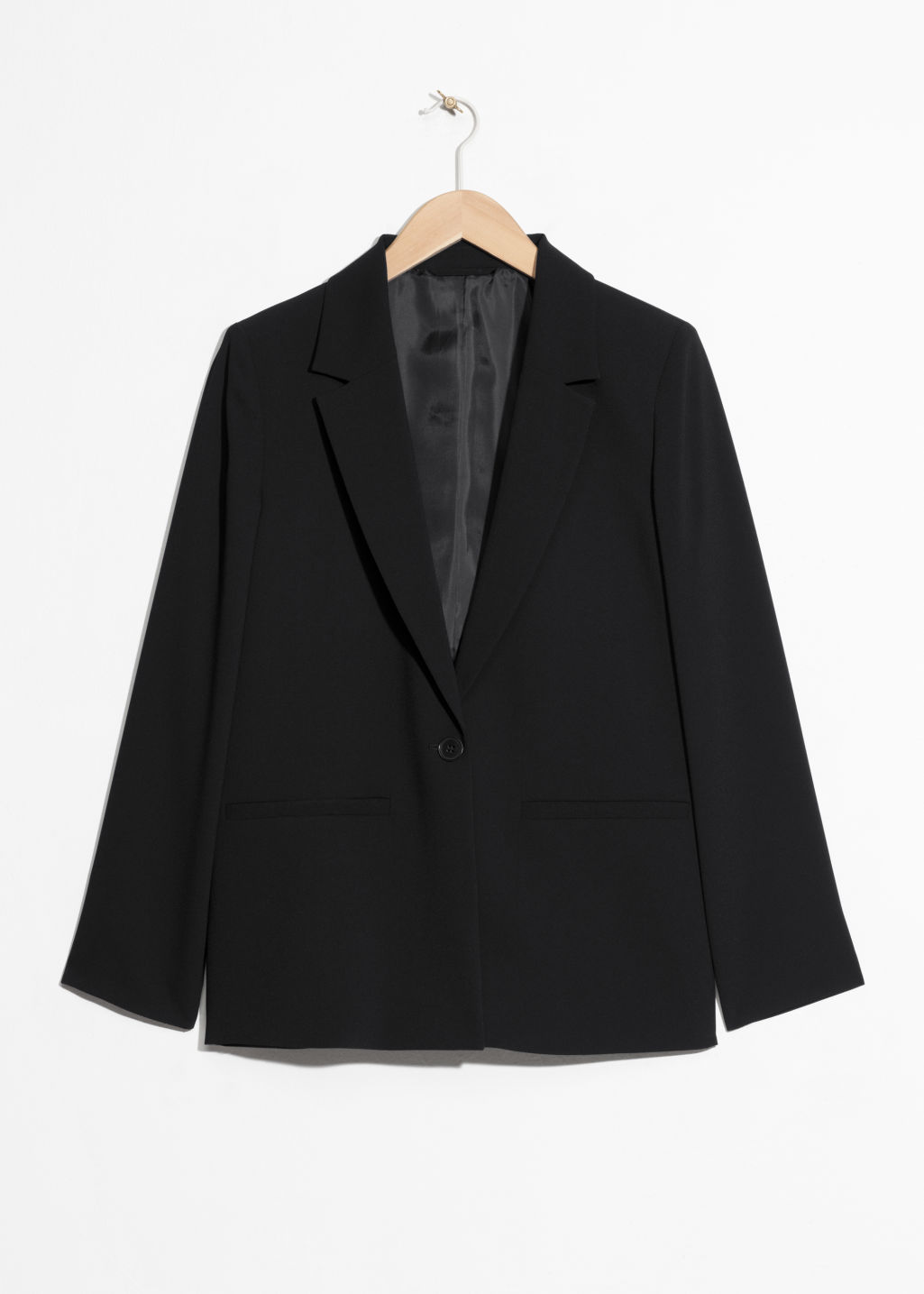 Front image of Stories fitted long blazer  in black