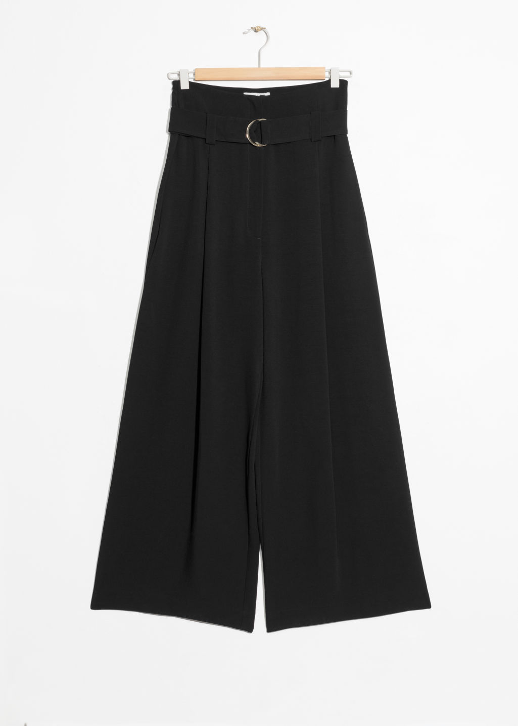 Front image of Stories belted wide trousers in black