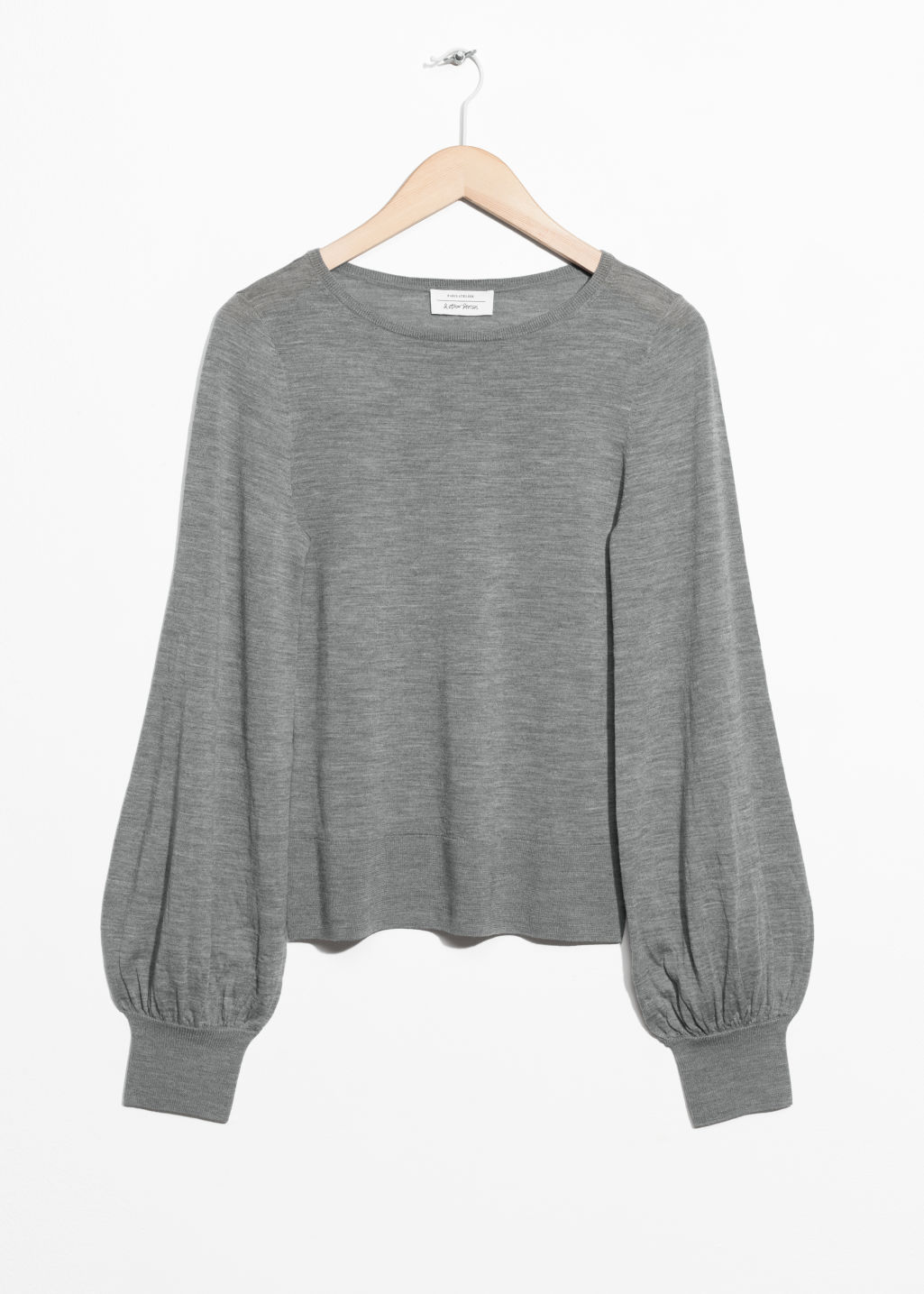 Front image of Stories billow sleeve sweater in grey