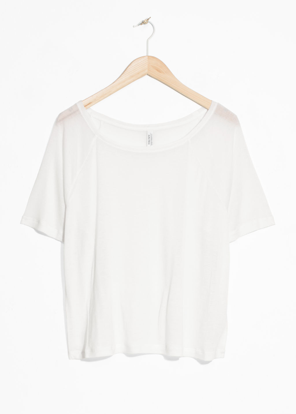 Front image of Stories raglan sleeve tee in white
