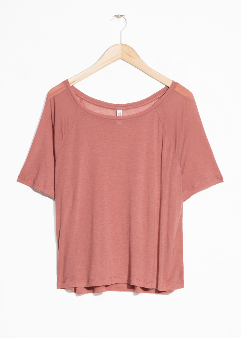 Front image of Stories raglan sleeve tee in pink