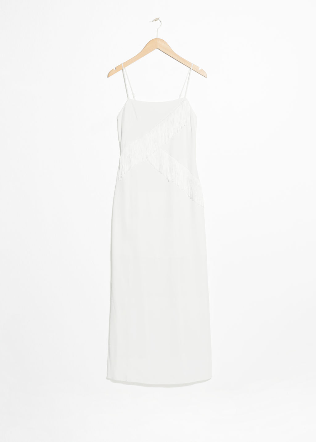 Front image of Stories asymmetric fringe dress in white