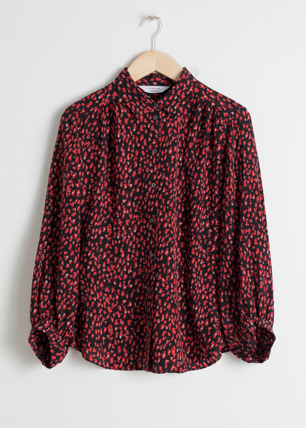 Front image of Stories micro floral silk button down  in black