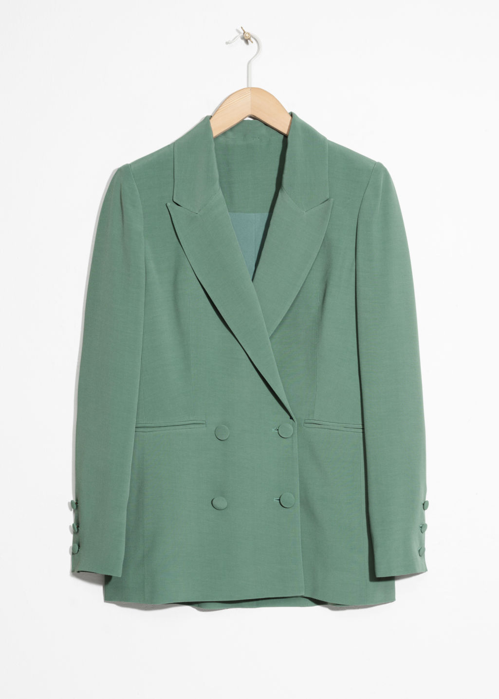 Front image of Stories oversized long blazer in green