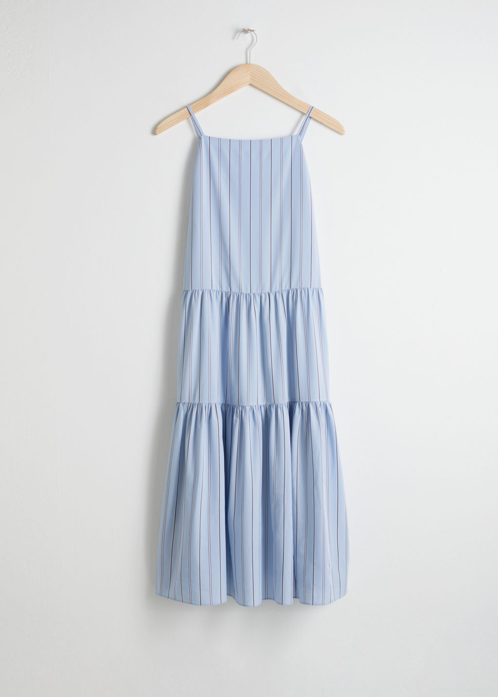 Front image of Stories gathered pleated midi dress in blue