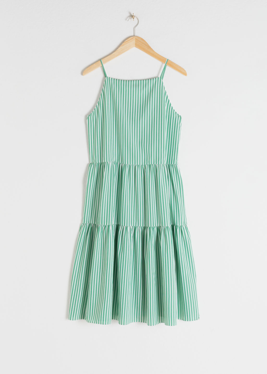 Front image of Stories gathered pleated midi dress in green