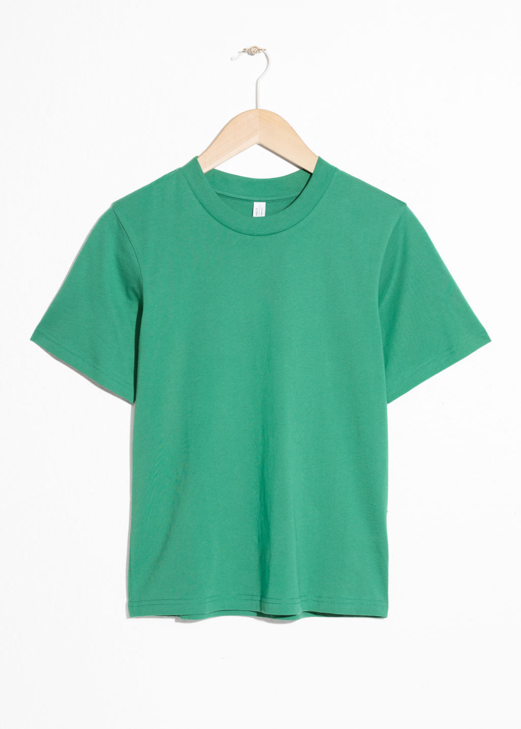 Front image of Stories basic straight fit t-shirt in green