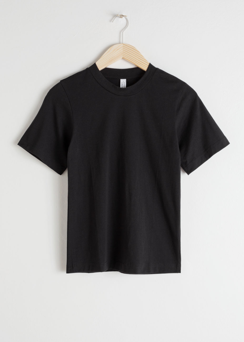 Front image of Stories basic straight fit t-shirt in black