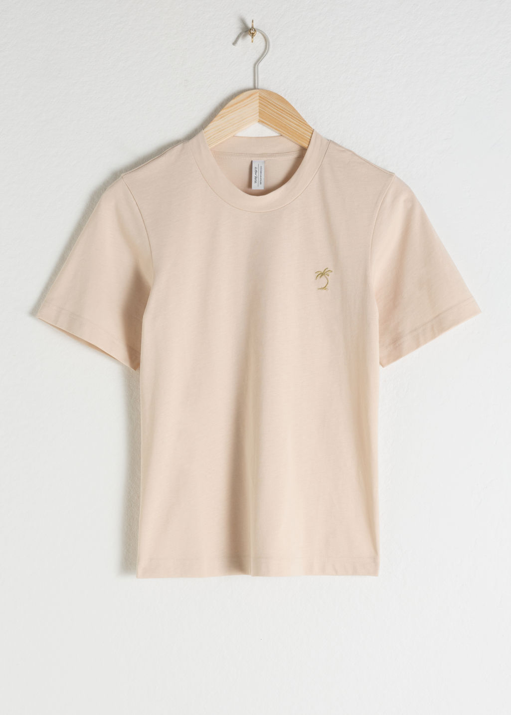 Front image of Stories basic straight fit t-shirt in beige