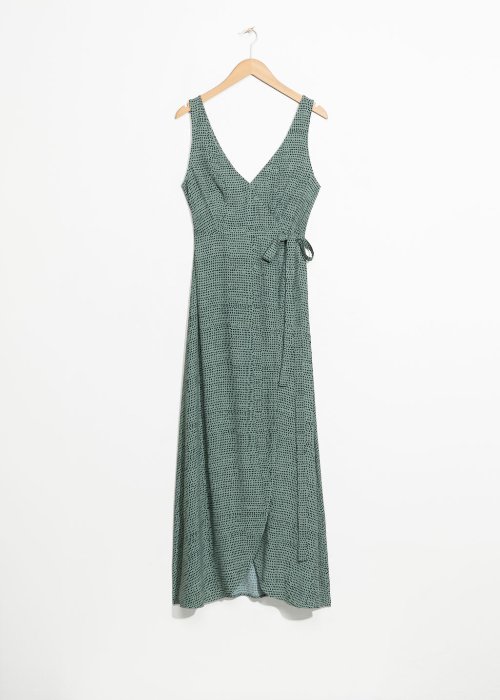 Front image of Stories maxi wrap dress in green