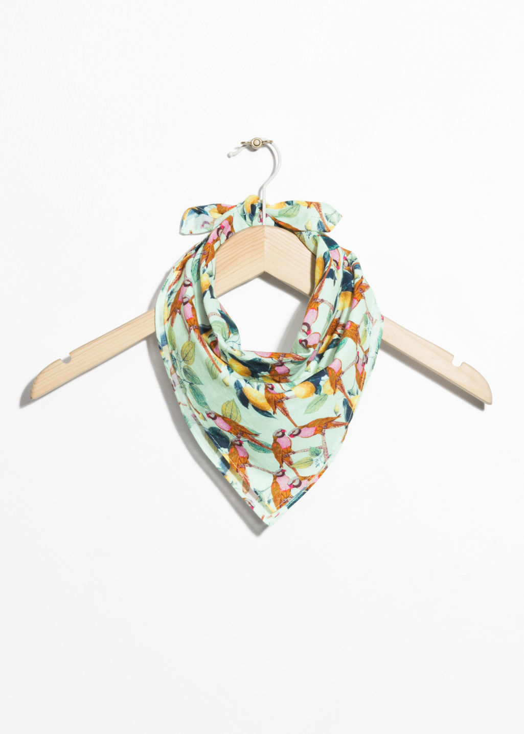 Front image of Stories perroquet print bandana in yellow