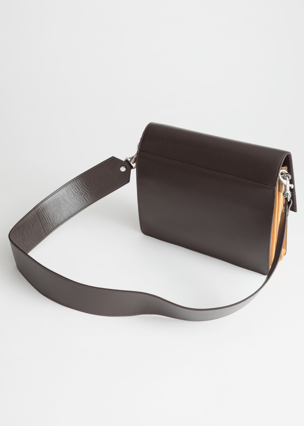 Back image of Stories short leather crossbody bag in brown