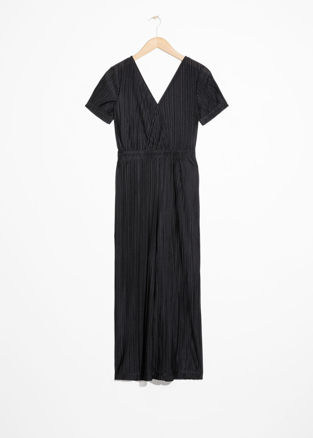 Front image of Stories pleated wrap jumpsuit in black
