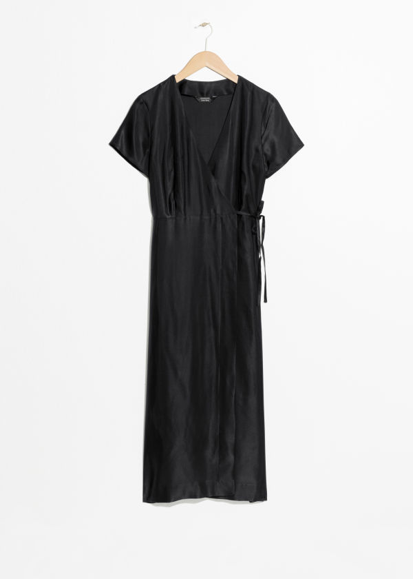 Front image of Stories midi wrap dress in black