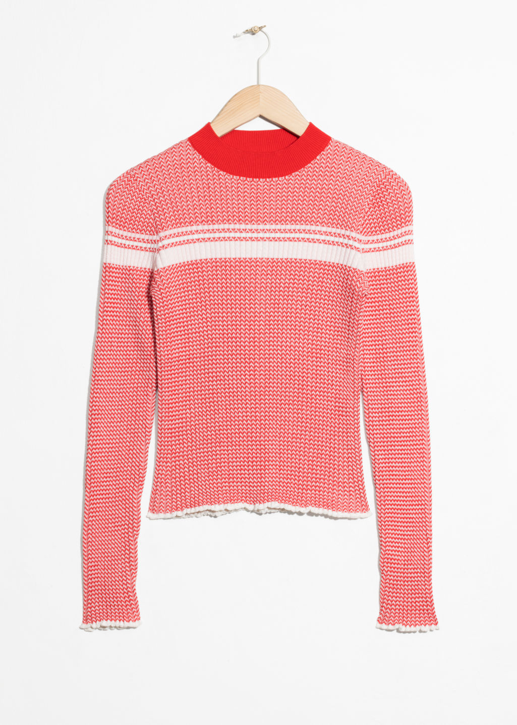 Front image of Stories striped melange top  in red