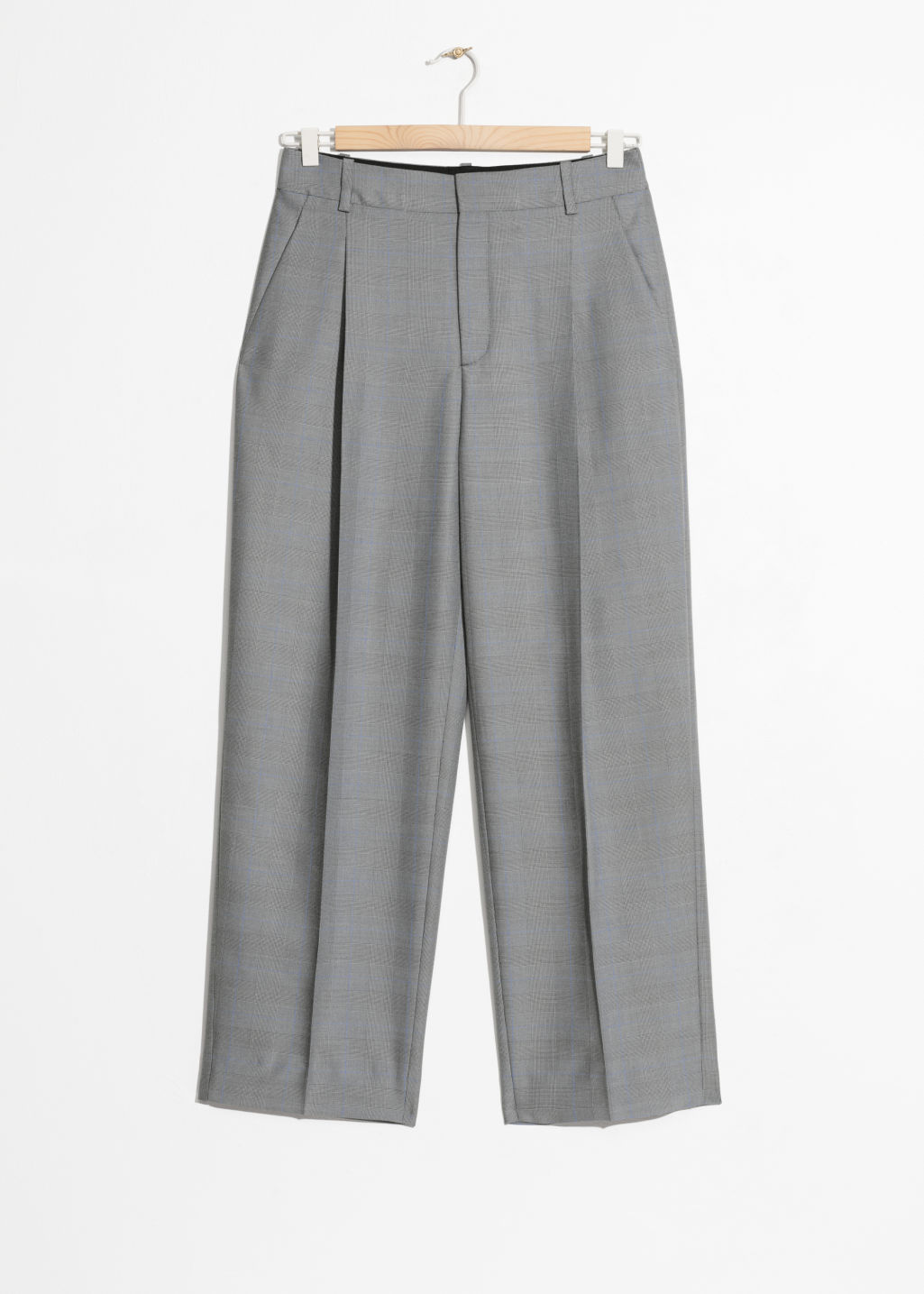 Front image of Stories tapered plaid trousers in grey