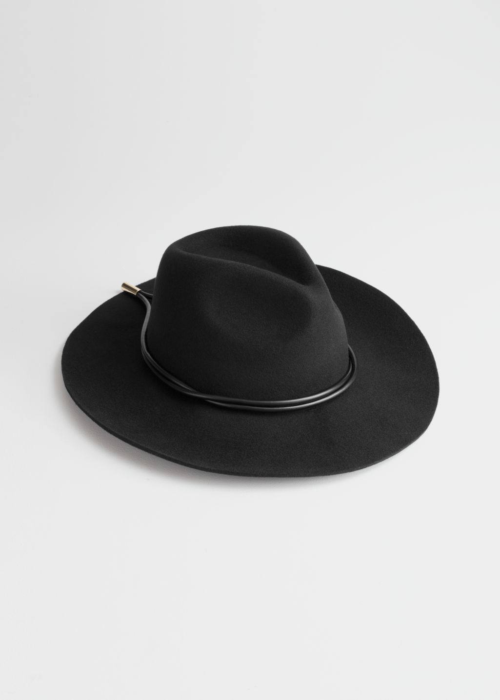Front image of Stories leather ribbon wool fedora in black