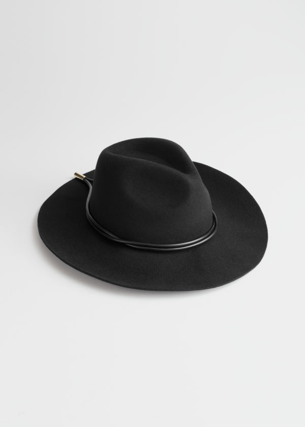 Leather Ribbon Wool Fedora