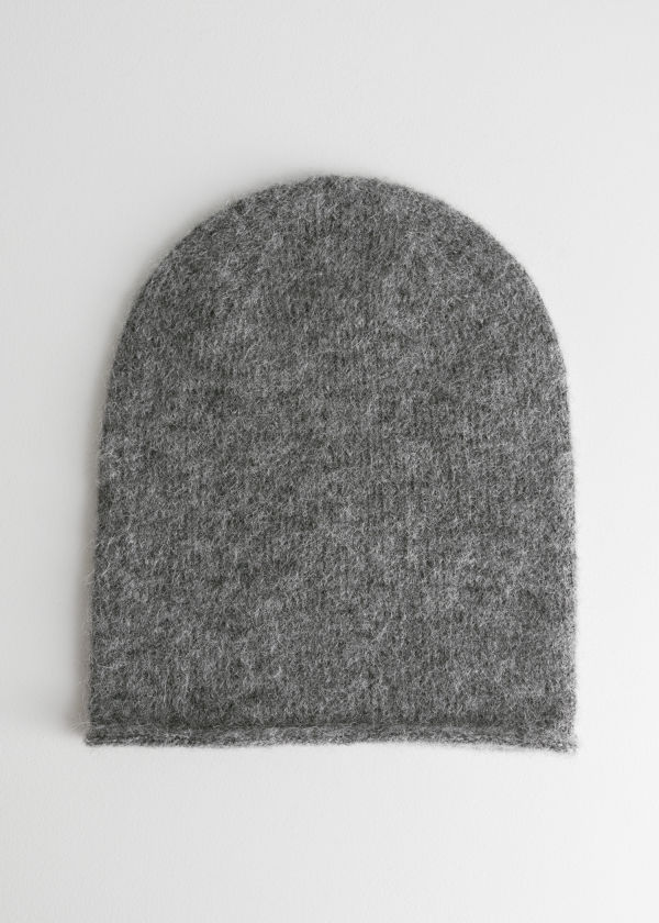 Front image of Stories slouchy wool blend beanie in grey
