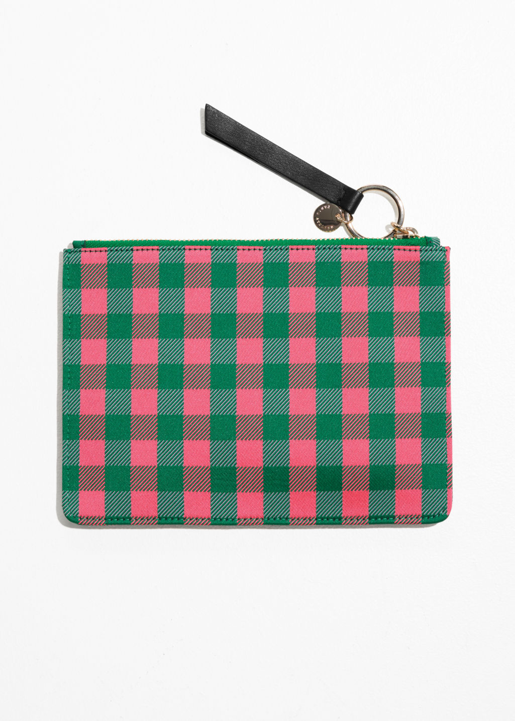 Back image of Stories gingham pouch in orange