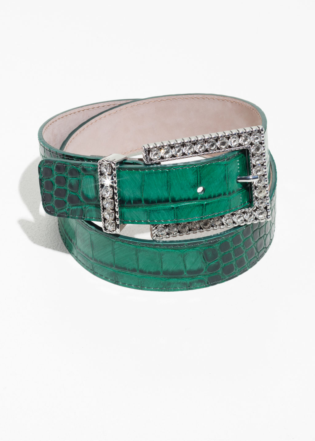 Front image of Stories croc embossed belt in green