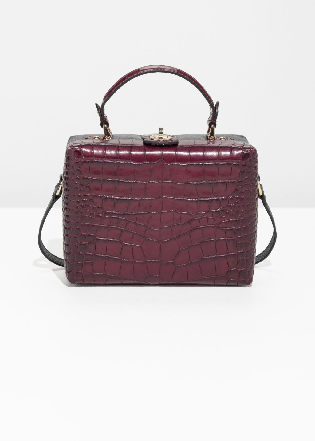 Front image of Stories box croc shoulder bag in red