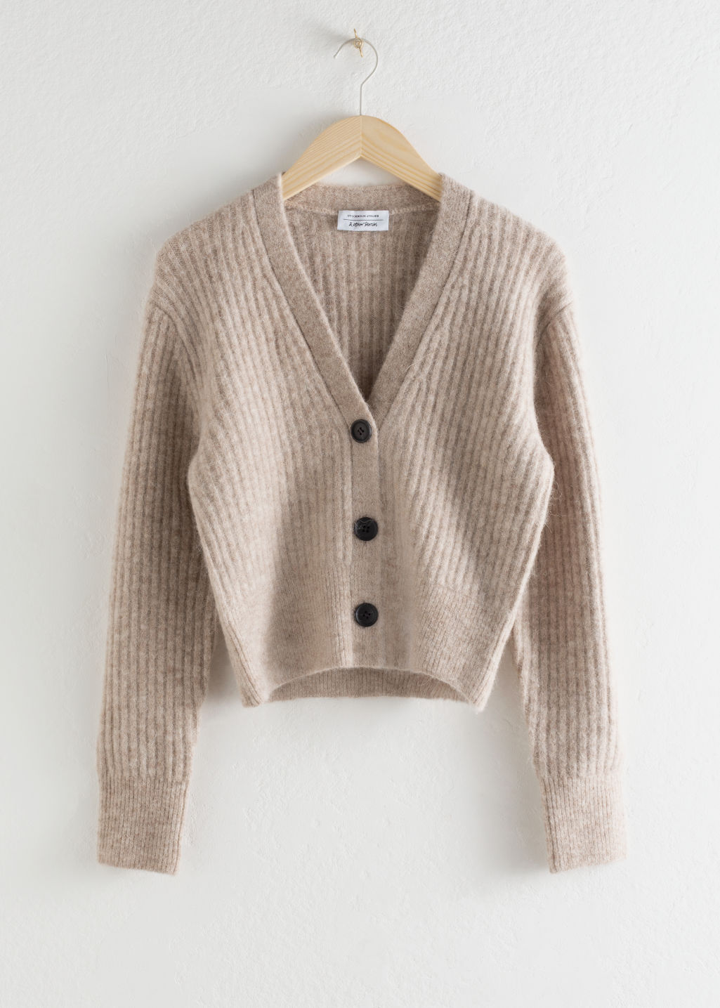 StillLife Front Image of Stories Wool Blend Cardigan in Brown