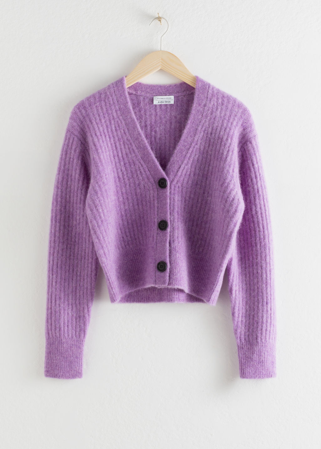 Front image of Stories wool blend cardigan in purple