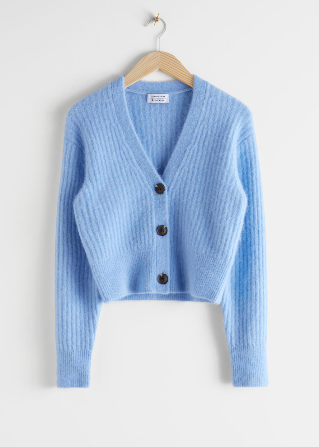StillLife Front Image of Stories Wool Blend Cardigan in Blue