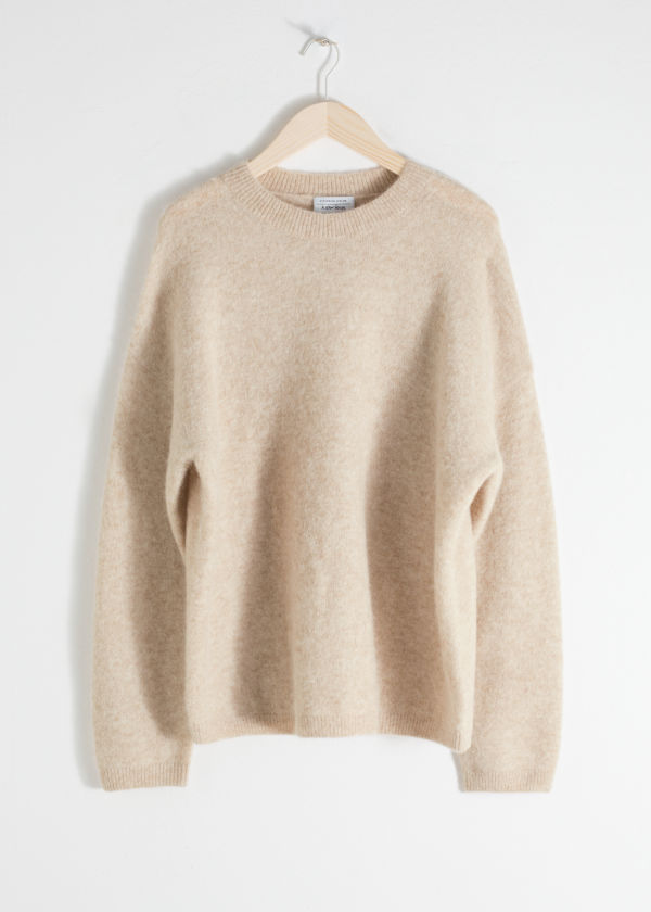 Front image of Stories alpaca blend sweater in beige