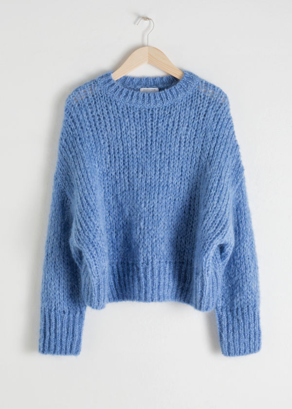 Front image of Stories wool blend chunky knit sweater in blue