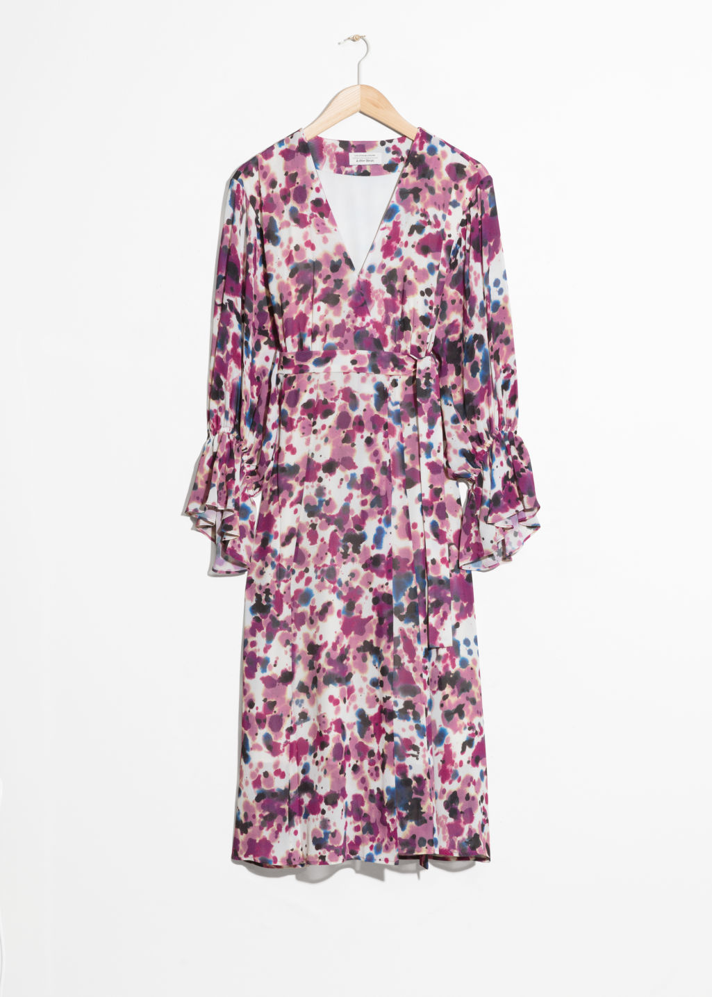 Front image of Stories belted wrap midi dress in pink