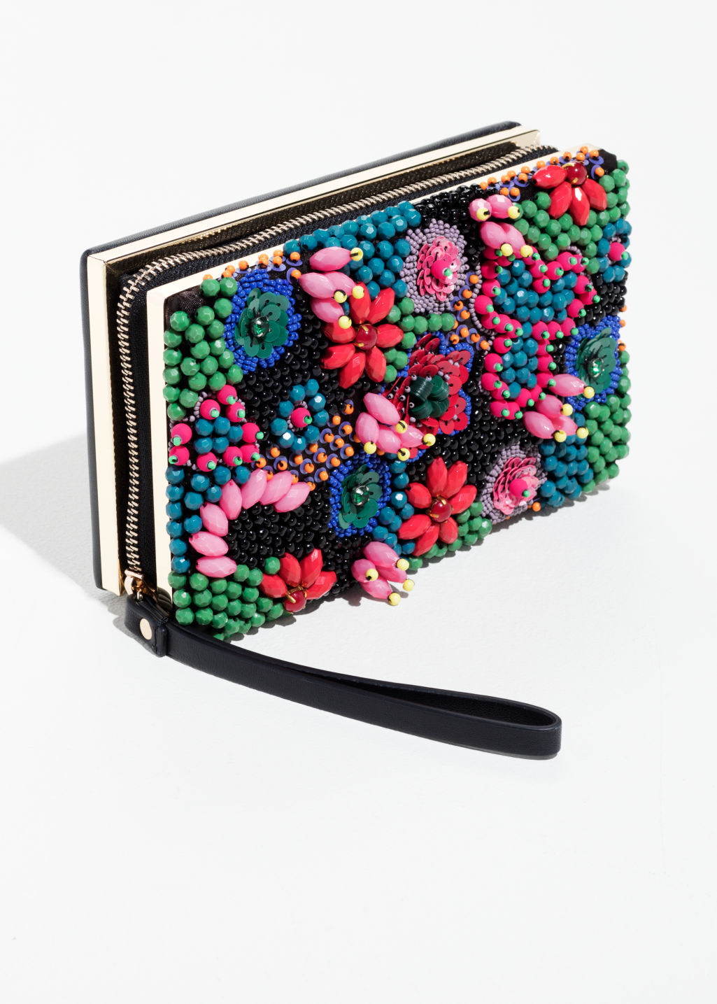 Back image of Stories beaded embellished clutch  in green