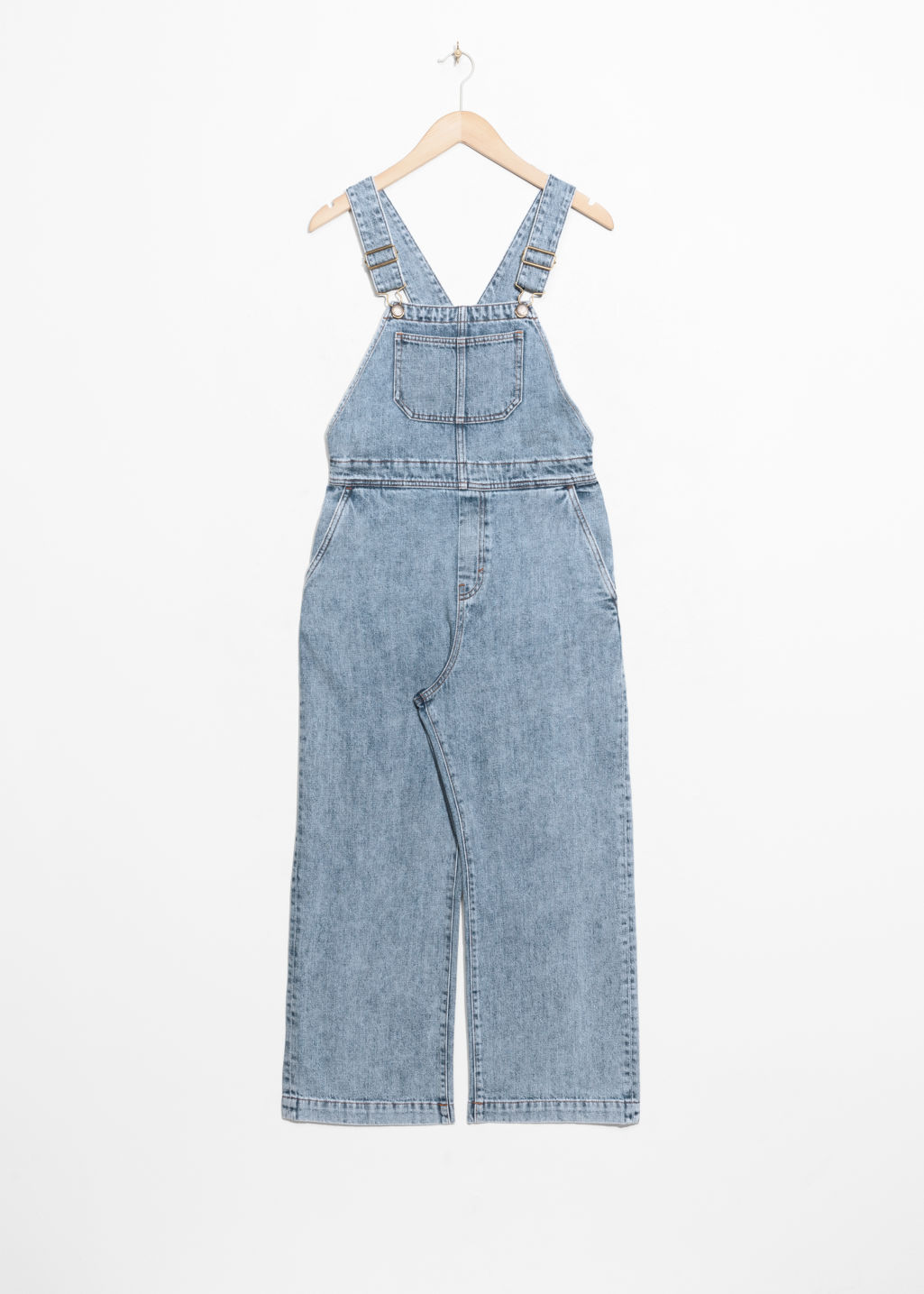 Front image of Stories wide leg overalls in blue