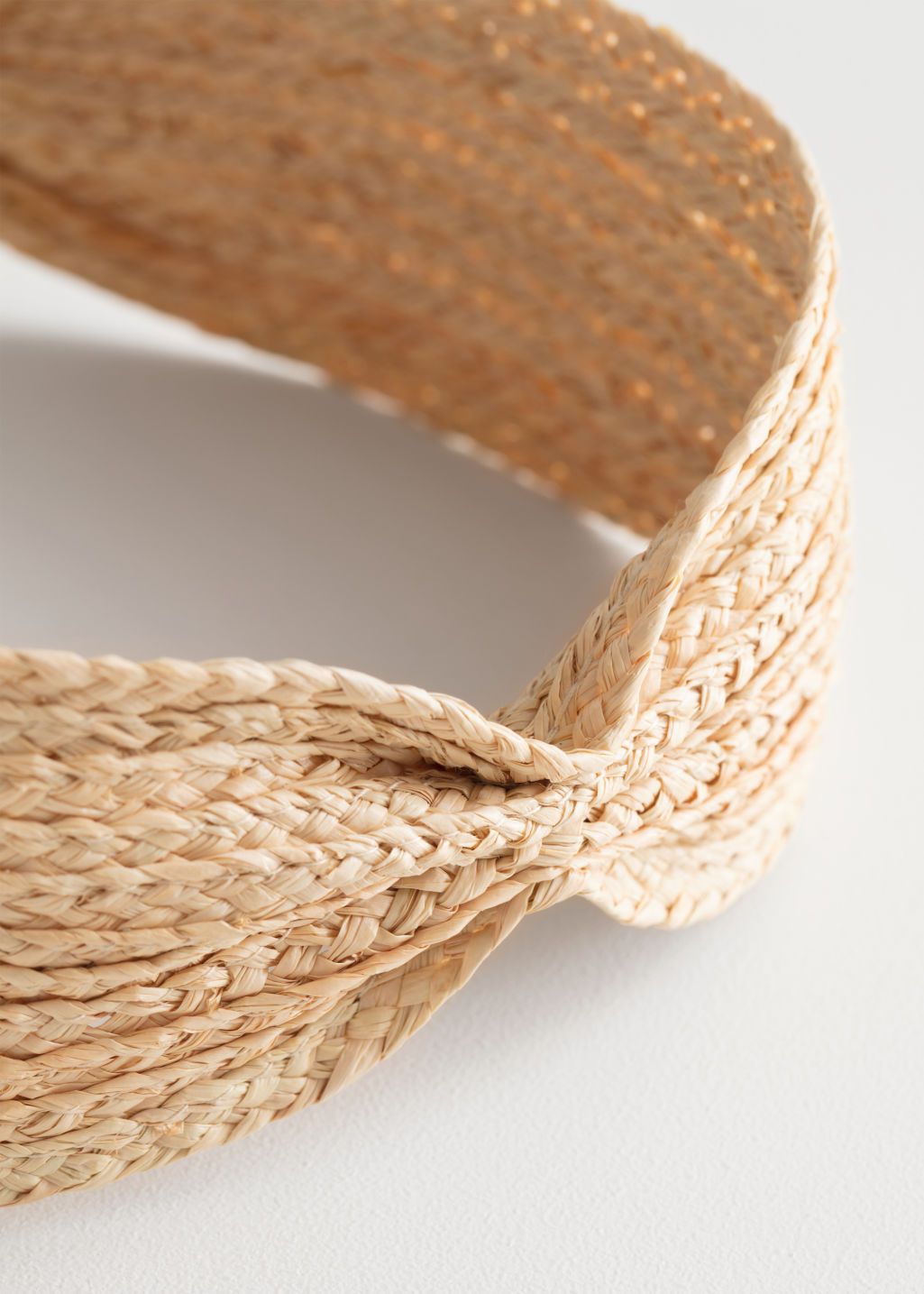 Back image of Stories woven straw hairband in white
