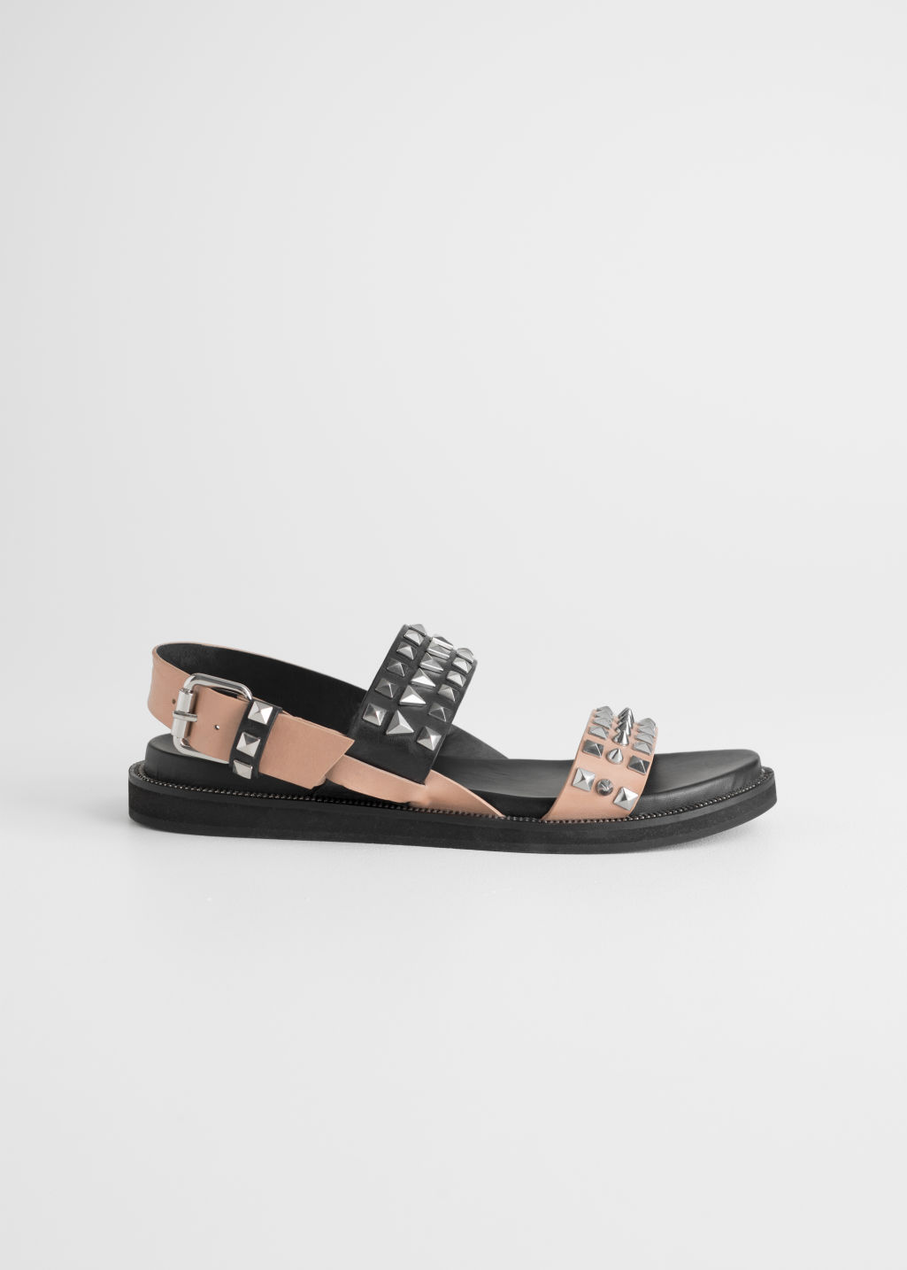Front image of Stories two toned studded sandals in black