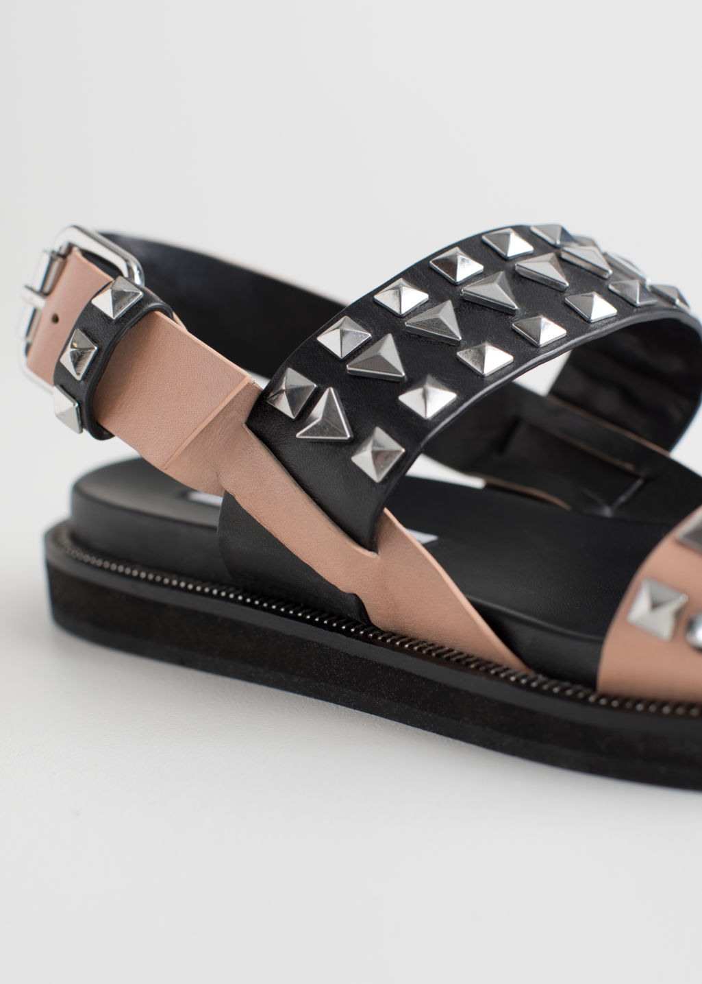 Back image of Stories two toned studded sandals in black
