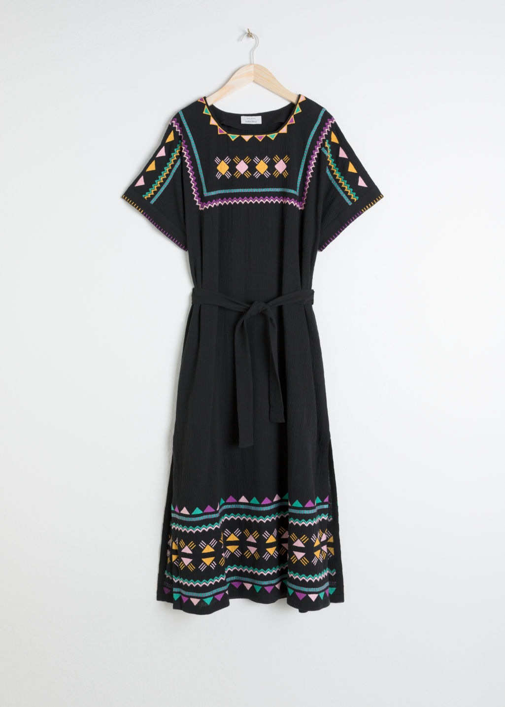 Front image of Stories embroidered belted kaftan dress in black
