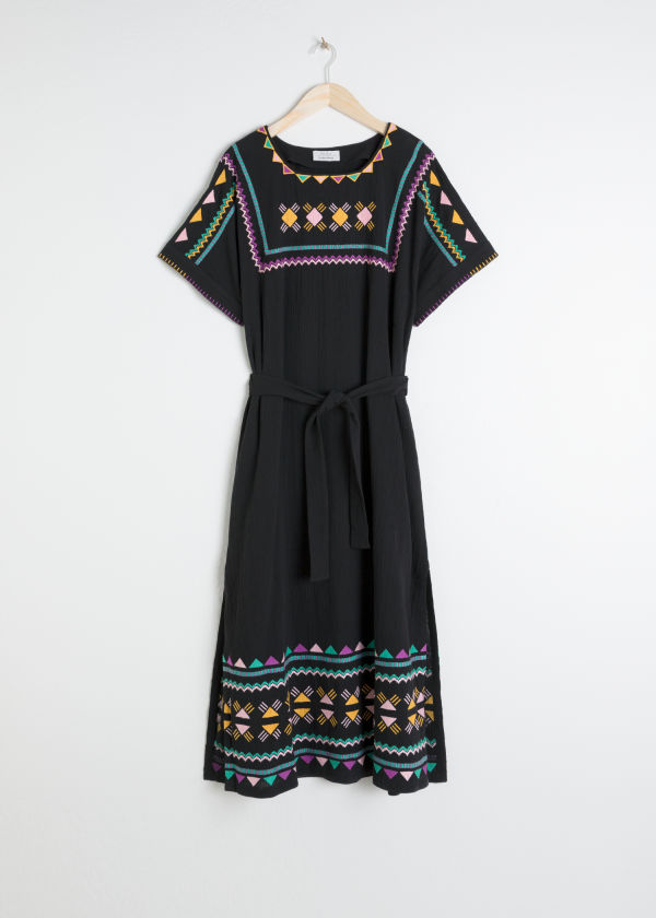 Embroidered Belted Kaftan Dress