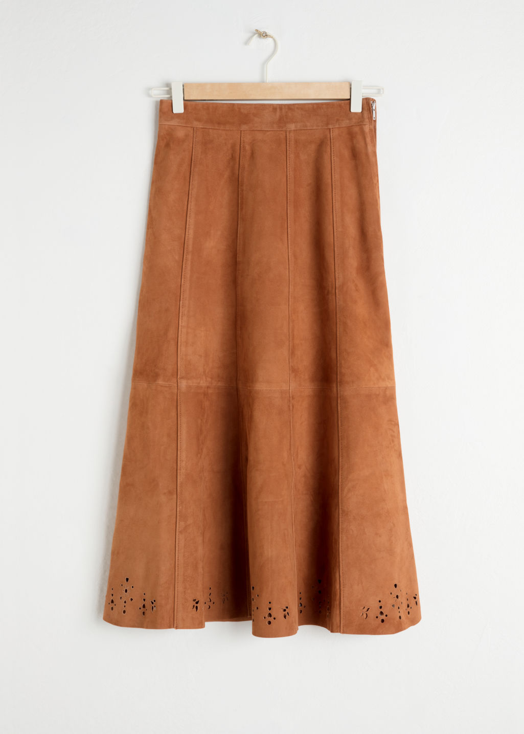 Front image of Stories pleated suede midi skirt in yellow