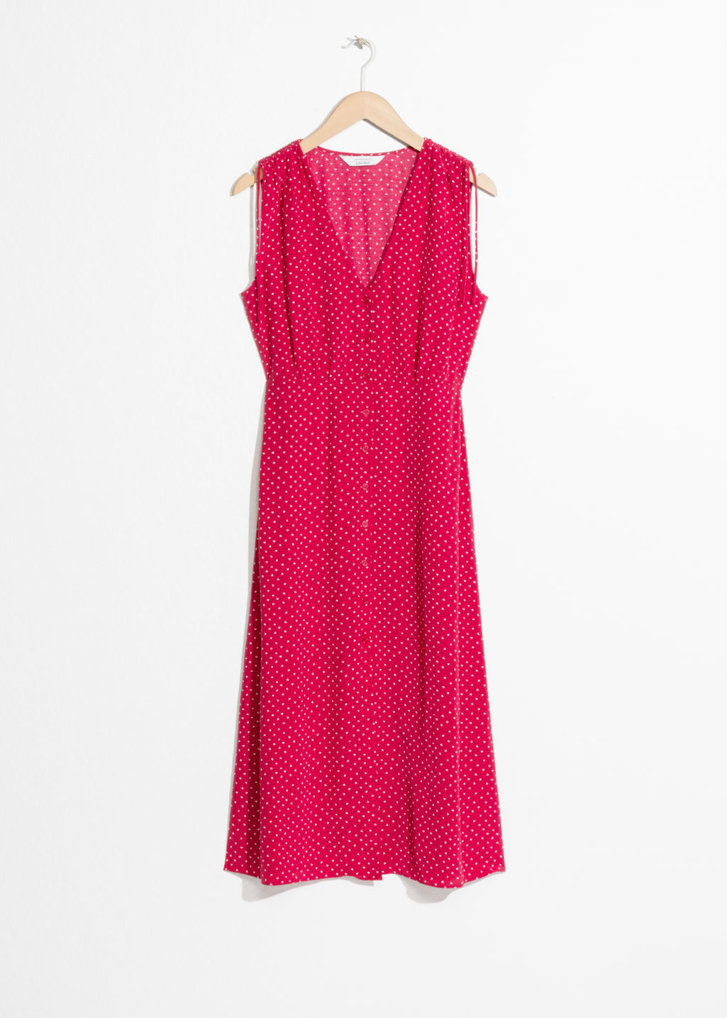 Front image of Stories drawstring shoulder midi dress in red