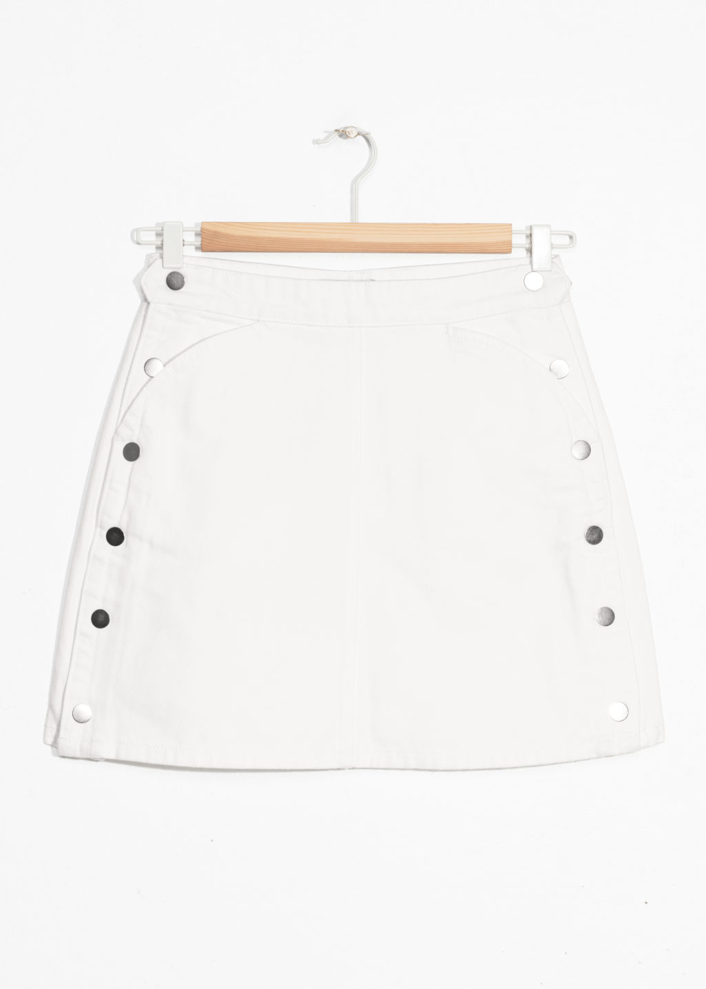 Front image of Stories side button denim mini skirt in white