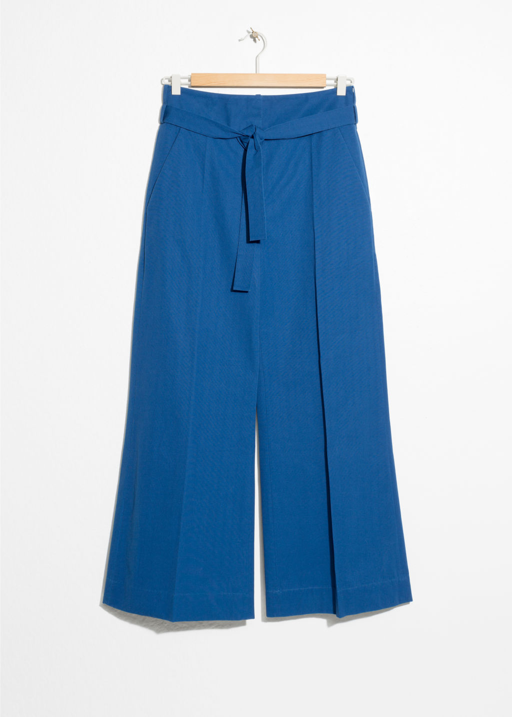 Front image of Stories high waisted flared trousers in blue